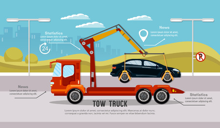 Car service infographic, auto towing, tow truck for transportation faults and emergency cars vector. Tow truck in the city