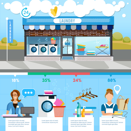 laundry room: Laundry service infographic, interior. Laundry room with facilities for washing, laundry staff washing machine clothes vector