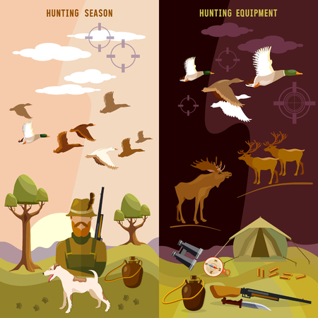 duck hunting: Hunting banners, hunter with rifle and dog in forest, duck hunting, ammunition: binoculars, vector illustration