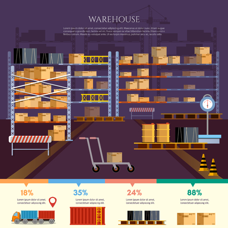 Warehouse infographic, interior box on rack and warehouse building. Logistic and delivery service concept vector Illustration