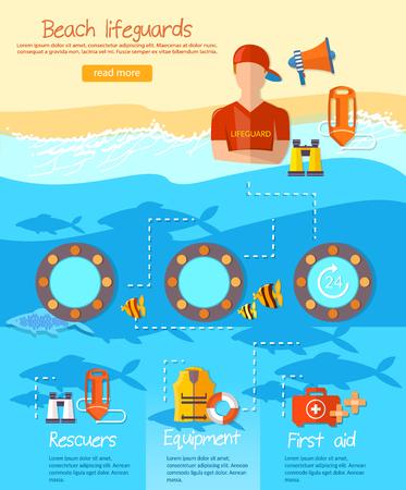 Lifeguards Infografik, die Arbeit eines professionellen Rettungsschwimmer am Strand Vektor Standard-Bild - 69005746