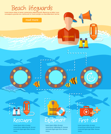 life guard stand: Lifeguards infographic, work of a professional lifeguard on the beach vector Illustration