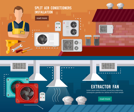 Installation of air conditioners, split system, check ventilation systems, air conditioner installment and air conditioning repair vector banner Illustration