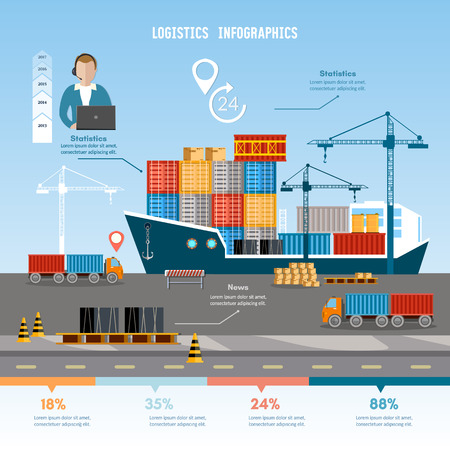 shipping by sea: Shipping port vector.  Global delivery concept logistics set of air cargo trucking rail transportation maritime shipping. Sea transportation 24 hours logistic infographics. Illustration
