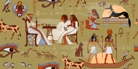 god's cow: Ancient Egypt seamless pattern. Hieroglyphic carvings on the exterior walls of an ancient egyptian pattern. Murals ancient Egypt. Egyptian gods and pharaohs seamless pattern