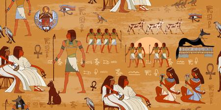 Modelo inconsútil del antiguo Egipto. Tallas jeroglíficas en las paredes exteriores de un patrón del antiguo Egipto. murales antiguo Egipto. Egipto grunge de fondo sin fisuras. dioses y faraones egipcios patrón Foto de archivo - 69005752