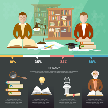 librarian: Public library infographic elements students read books, librarian professor, library interior with people vector