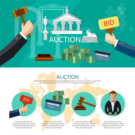 antiques: Auction and bidding infographics, antiques art object culture, auction bidding concept vector illustration Illustration
