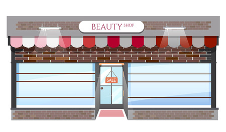 boutique display: Fashion store, fashion shop building, windows empty for your store product presentation or design, vector cartoon illustration