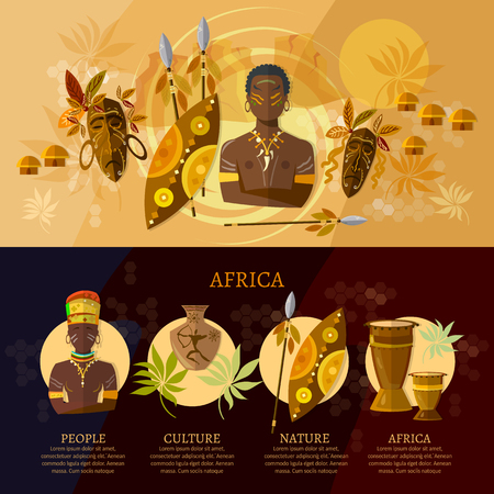 africa people: Africa infographic, culture and traditions of Africa, people, African tribes, ethnic masks, drums. Travel to Africa concept vector