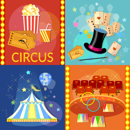 Circus set icon. Magician circus shows tricks focuses vector illustration Illustration
