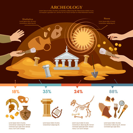 paleontology: Archeology and paleontology concept. Archaeological excavation infographics achaeologists unearth ancient artifacts ancient history Illustration