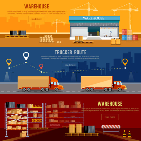 Warehouse banner, cargo transportation, warehouse interior. Shipping and delivery, transportation of goods. Delivery industry concept