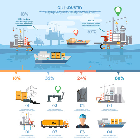 industry: Oil industry infographics banner production and transportation of oil, purification of oil and gas products vector