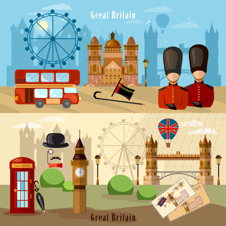 london city: London City Skyline banner. Welcome to Britain. United Kingdom buildings royal guards london attraction vector illustration Illustration