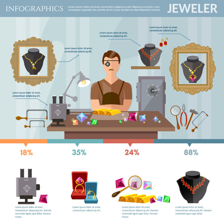 Professional jeweler infographics. Creation and sale of a jewelry, earrings rings gems, jeweler at work vector