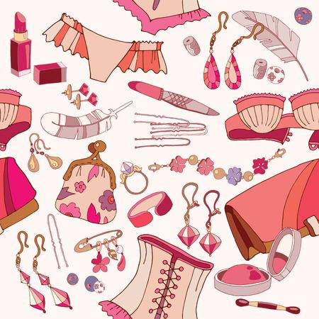 Woman accessories seamless pattern, underwear, cosmetics, jewelry, fashion background