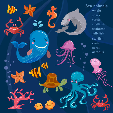 Sea animals cute collection octopus, fish, whale, jellyfish, turtle, crab cartoon