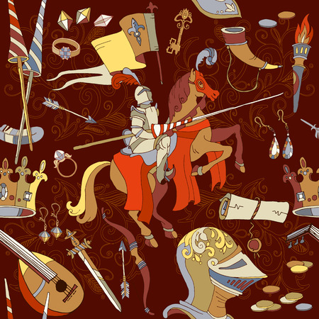 Medieval seamless pattern, knight on horse, ancient weapons, medieval background vector illustration Illustration
