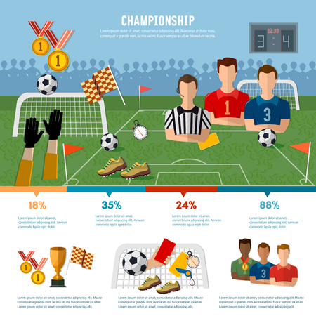 footbal: Soccer infographic, football team, signs and symbols of professional soccer elements vector