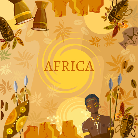 tribe: Travel to Africa, people, tribe. African traditions and culture. Illustration