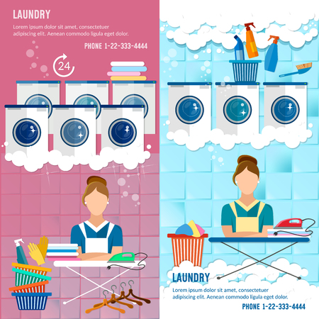 ironing: Laundry service banner concept, laundry room with facilities for washing clothes, laundry staff washing machine Illustration