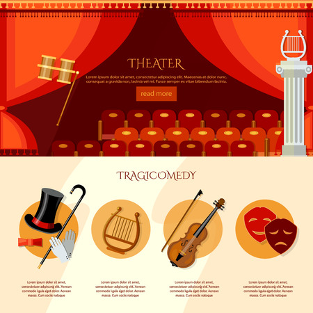 operetta: Theater infographics, comedy and tragedy. Theater curtain and stage vector illustration Illustration