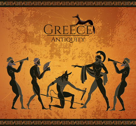 Ancient Greece scene. Black figure pottery. Hunting for a Minotaur, gods, fighter. Classical Ancient Greek style