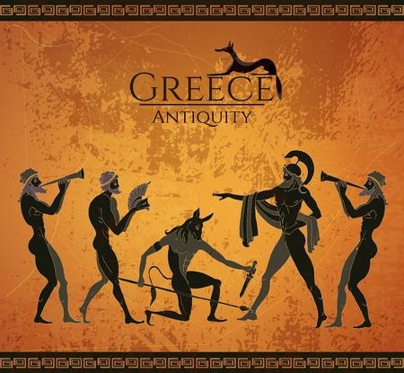 Oude Griekenland scene. Zwartfigurige stijl. Op jacht naar een Minotaur, goden, vechter. Klassieke oude Griekse stijl