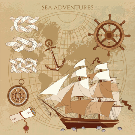 sailing ship: Old pirate map. Sailing ship, old compass, anchor, pirate treasure. Adventure stories background. Nautical vintage map vector illustration Illustration