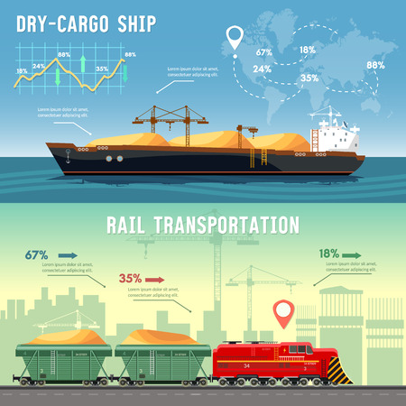 Logistics banner Cargo transportation. Delivery by railway lines. Transportation and transportation by freighters. Illustration