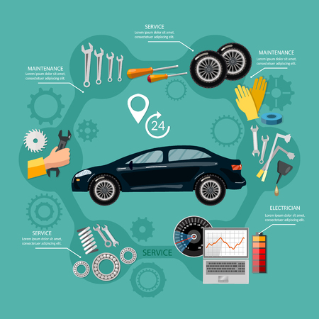 Car service mechanic tool box tuning diagnostics, tire service, car repair vector Illustration