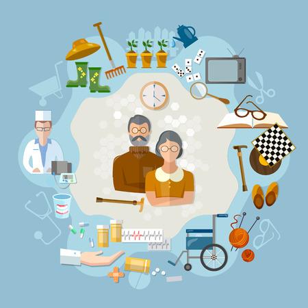 Nursing home,  social help elderly, medicine for old men. Social care concept
