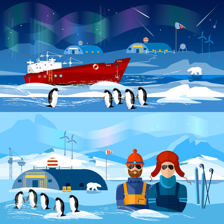north pole: Travel to Antarctica banners. Scientific station on North Pole. Fauna of Antarctic, polar bear, penguins. Ice breaker and polar explorers. Arctic and Antarctic tourism. Illustration