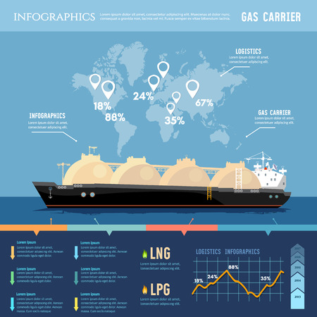 supertanker: Oil and gas industry infographics. LNG tanker, natural gas. Carrier ship LNG transportation by sea. Illustration