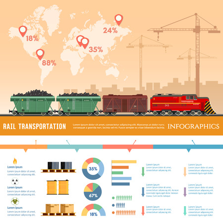 Freight trains infographics. Cargo train with coal. Cargo transportation by train, transportation of oil, gas, toxic chemicals infographics. Industry and train transportation