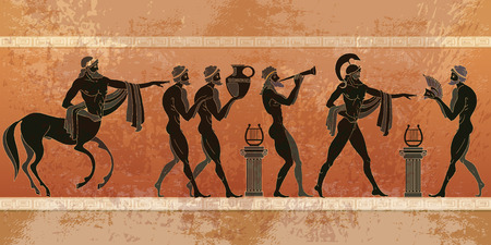 Ancient Greece scene. Black figure pottery. Ancient Greek mythology. Centaur, people, gods of an Olympus. Classical Ancient Greek style Çizim