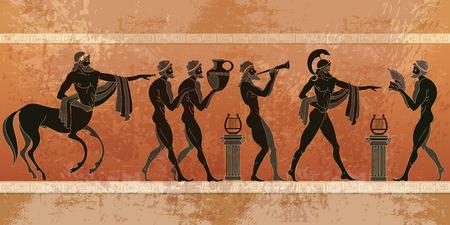 Ancient Greece scene. Black figure pottery. Ancient Greek mythology. Centaur, people, gods of an Olympus. Classical Ancient Greek style Illustration