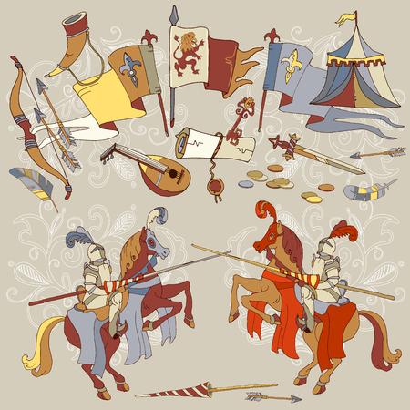 Chevalier Tournoi médiéval joust chevalier cheval vecteur cadre médiéval