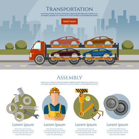 Assembly and transportation of cars. Production and sale of cars banner, car assembly process vector illustration Illustration