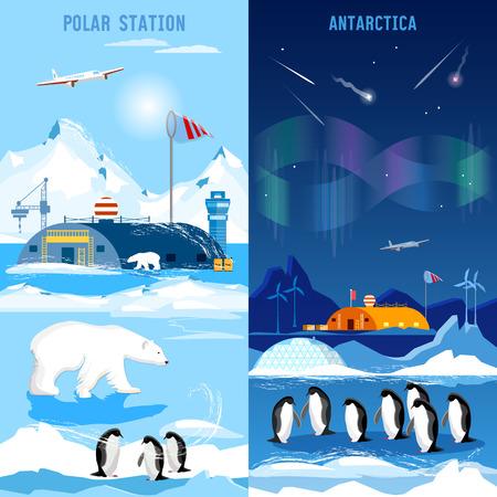 Pôle Nord, bannières de stations polaires. Penguins, les ours polaires, les lumières polaires. l'étude scientifique de l'Antarctique et Pôle Nord