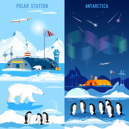 North Pole, polar station banners. Penguins, polar bears, polar lights. Scientific studying of Antarctica and North Pole