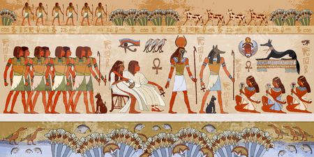Egyptian gods and pharaohs. Ancient Egypt scene, mythology. Hieroglyphic carvings on the exterior walls of an ancient temple. Murals ancient Egypt. Иллюстрация