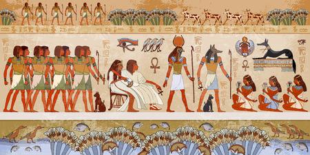Egyptische goden en farao's. Ancient Egypt scène, mythologie. Hiëroglyfische gravures op de buitenmuren van een oude tempel. Muurschilderingen oude Egypte.