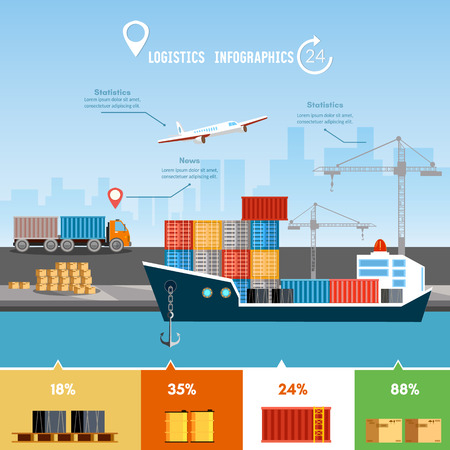 port: Global delivery concept logistics set of air cargo trucking rail transportation maritime shipping. Shipping port vector.  Sea transportation logistic infographics. Illustration