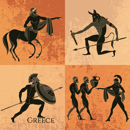 ancient civilization: Ancient Greek mythology set. Ancient Greece scene. Black figure pottery. Classical Ancient Greek style. Minotaur, gods, hero, mythology