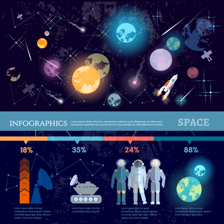 Space infographics. Study universe astronauts on new planets cosmos research symbols and charts, space solar system vector illustration