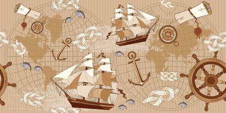 Oude kaart naadloos patroon. Vintage kompas, zeilboot, anker, oude kaart van de wereld naadloze achtergrond. Sea avontuur verhalen begrip