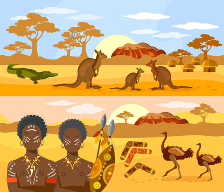 Australia travel banner. Australia people and animals, kangaroo, ostrich. Australian aborigines Vettoriali