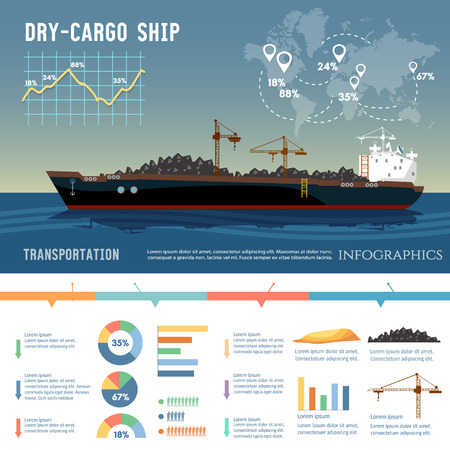화물선. 물류 및 운송 개념. 유조선, 화물선은 석탄, 모래를 전송합니다. 일러스트